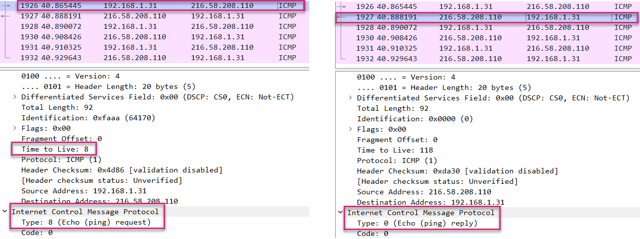 wireshark analysis of the last traceroute hop discovery
